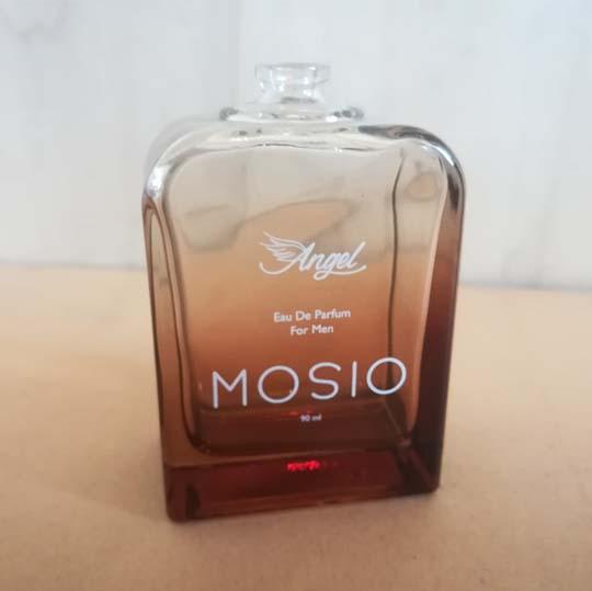 چاپ تامپو برند MOSIO روی شیشه ادکلن - چاپ صنعتی ایساتیس